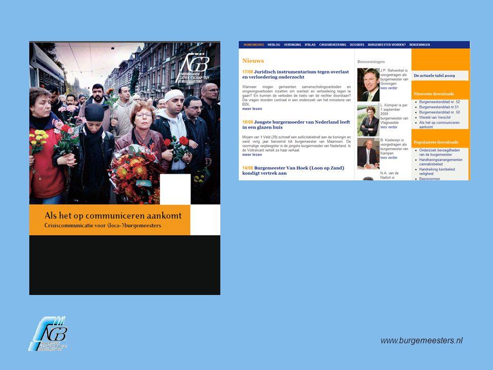 www.burgemeesters.nl Openbaar Ministerie heeft bevoegdheden die burgemeester niet heeft.