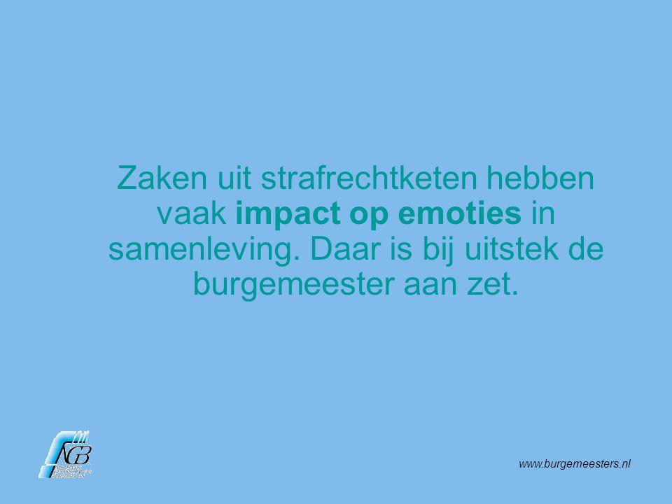 www.burgemeesters.nl Zaken uit strafrechtketen hebben vaak impact op emoties in samenleving. Daar is bij uitstek de burgemeester aan zet.