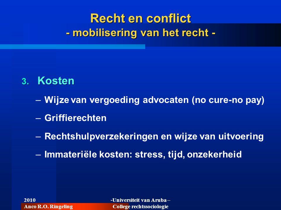 2010 Anco R.O. Ringeling -Universiteit van Aruba – College rechtssociologie Recht en conflict - mobilisering van het recht - 3. Kosten –Wijze van verg
