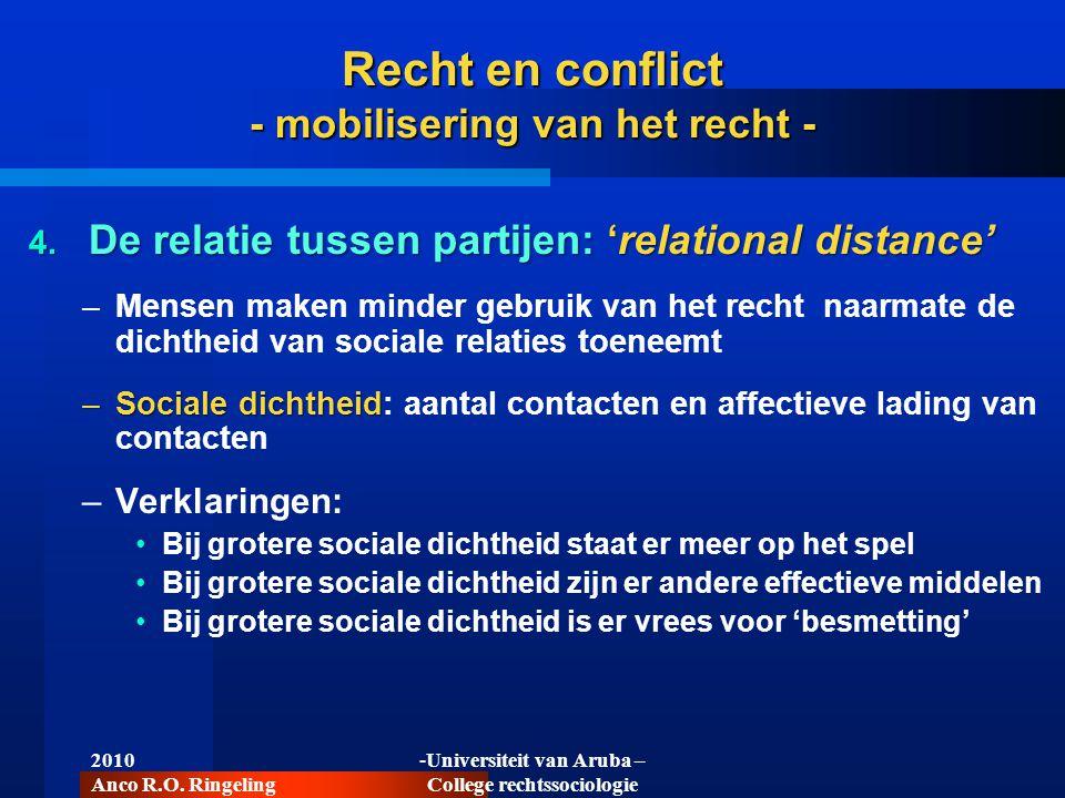 2010 Anco R.O. Ringeling -Universiteit van Aruba – College rechtssociologie Recht en conflict - mobilisering van het recht - 4. De relatie tussen part