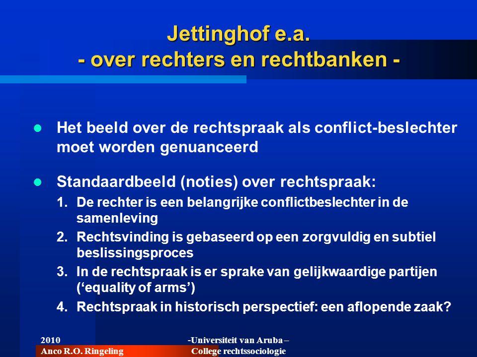 2010 Anco R.O. Ringeling -Universiteit van Aruba – College rechtssociologie Jettinghof e.a. - over rechters en rechtbanken -  Het beeld over de recht