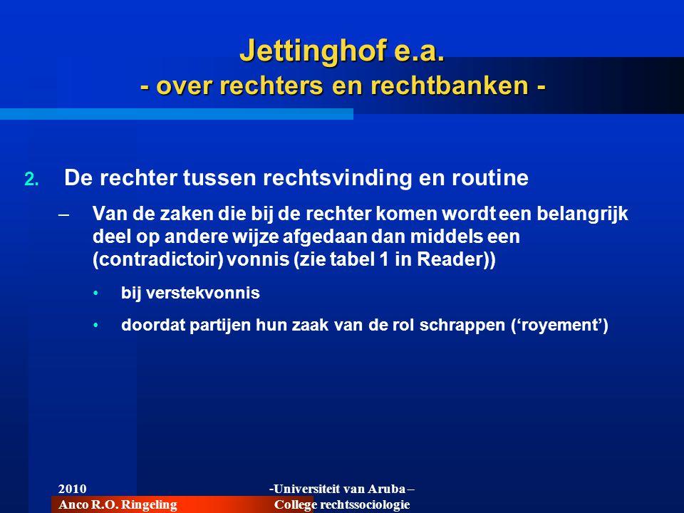 2010 Anco R.O. Ringeling -Universiteit van Aruba – College rechtssociologie Jettinghof e.a. - over rechters en rechtbanken -  De rechter tussen rech