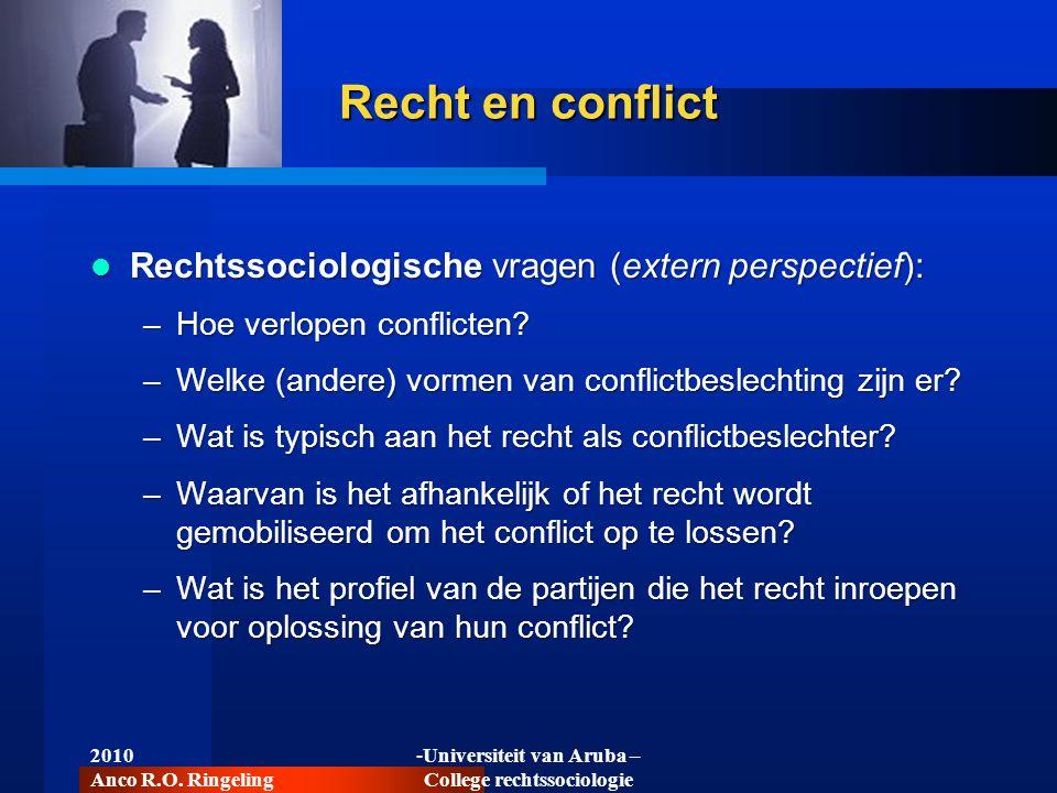 2010 Anco R.O. Ringeling -Universiteit van Aruba – College rechtssociologie Recht en conflict  Rechtssociologische vragen (extern perspectief): –Hoe