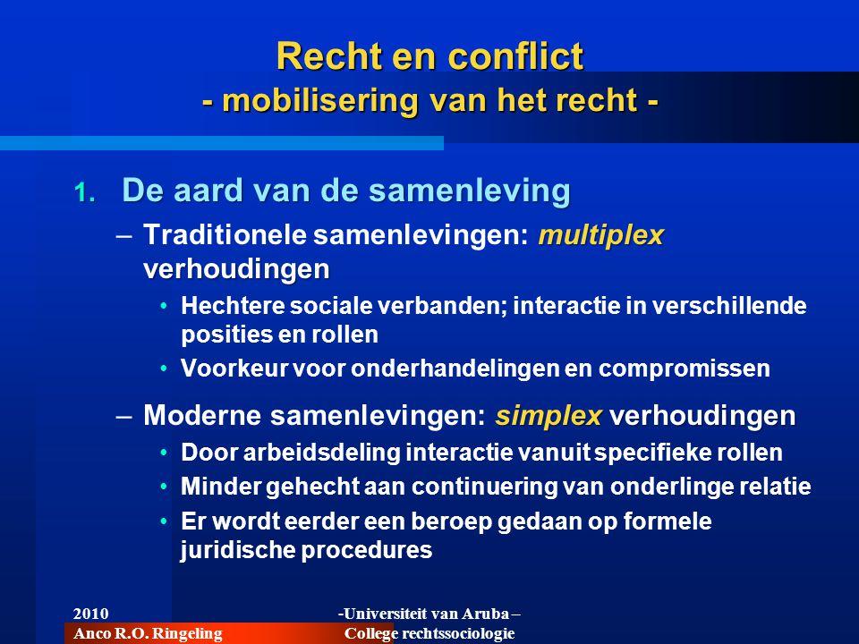 2010 Anco R.O. Ringeling -Universiteit van Aruba – College rechtssociologie Recht en conflict - mobilisering van het recht - 1. De aard van de samenle