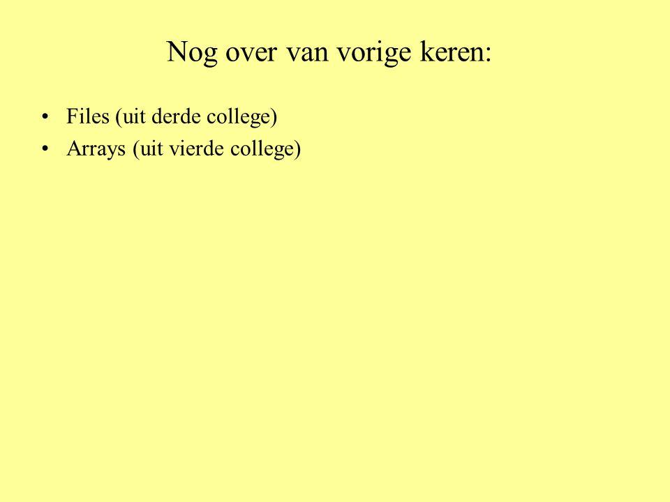 Nog over van vorige keren: •Files (uit derde college) •Arrays (uit vierde college)