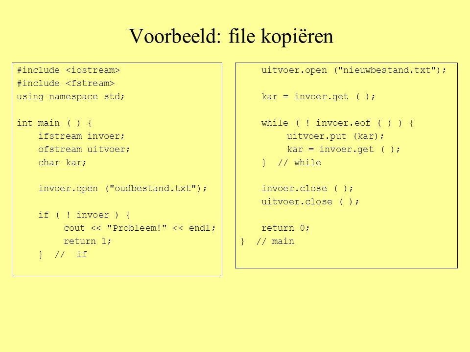 De oude C-stijl-string: een echt array van char's const int MAXWOORD=50; int main ( ) { char woord[MAXWOORD] = apekool ; // dit mag wel int lengte = 0; woord = apekool ; // maar dit mag NIET !!.