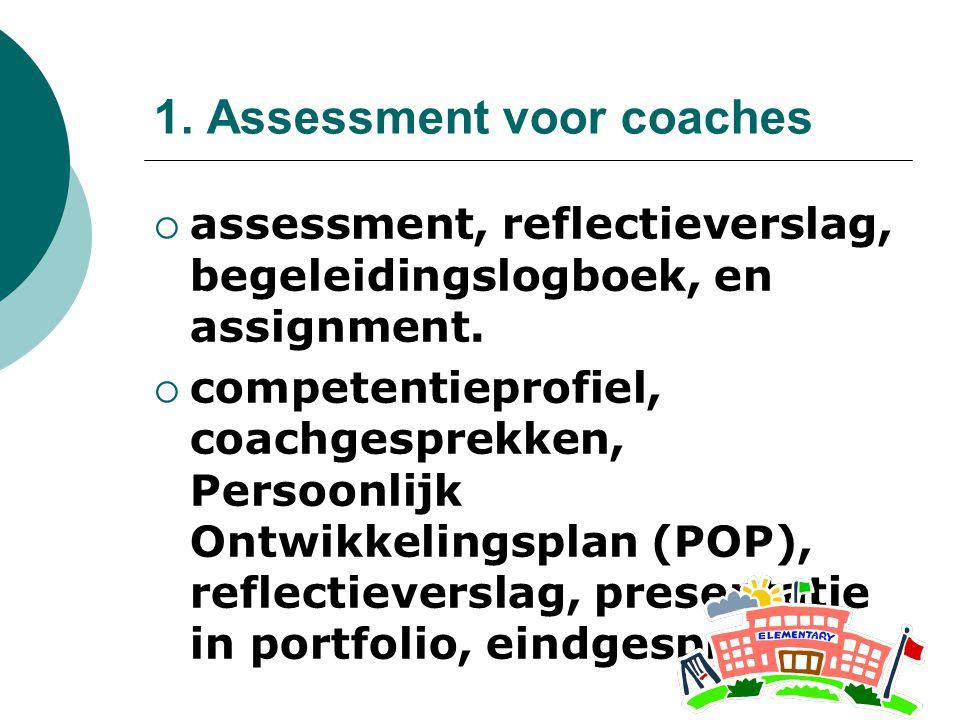1. Assessment voor coaches  assessment, reflectieverslag, begeleidingslogboek, en assignment.  competentieprofiel, coachgesprekken, Persoonlijk Ontw