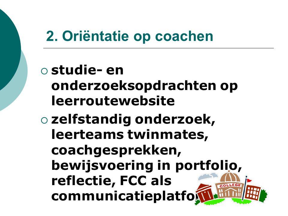 2. Oriëntatie op coachen  studie- en onderzoeksopdrachten op leerroutewebsite  zelfstandig onderzoek, leerteams twinmates, coachgesprekken, bewijsvo