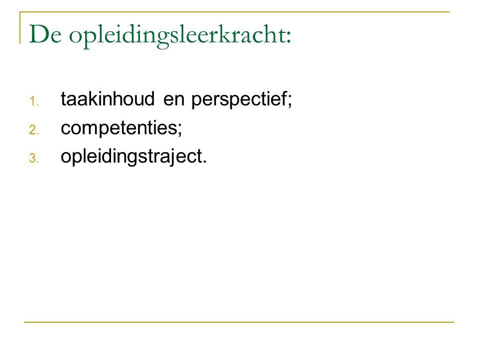 De opleidingsleerkracht: 1. taakinhoud en perspectief; 2. competenties; 3. opleidingstraject.