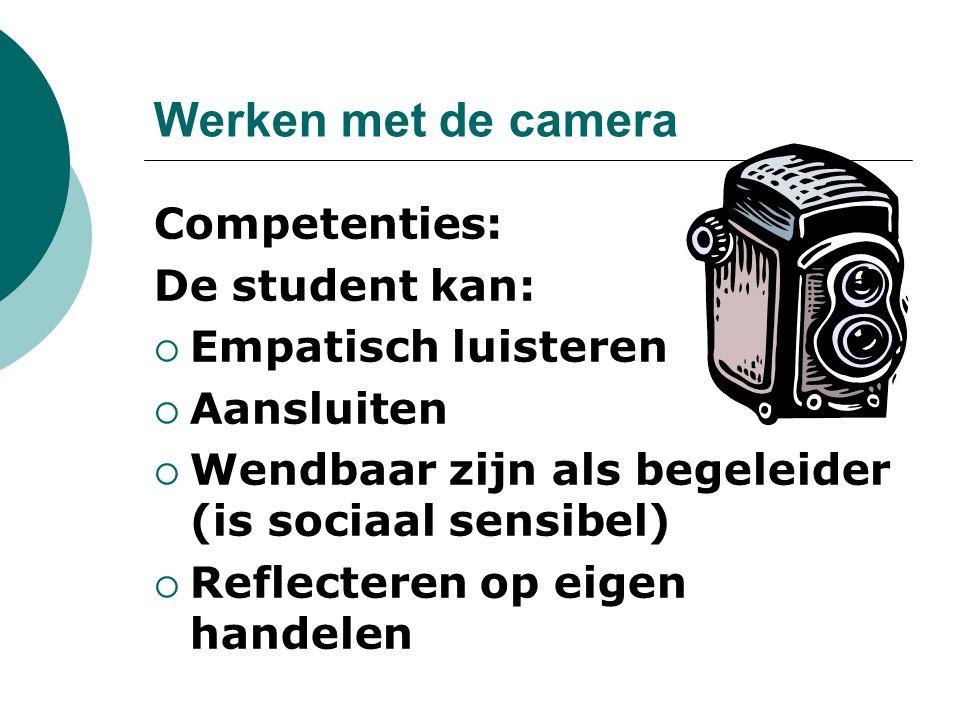 Werken met de camera Competenties: De student kan:  Empatisch luisteren  Aansluiten  Wendbaar zijn als begeleider (is sociaal sensibel)  Reflecter