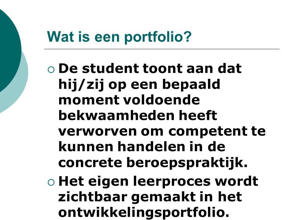 Wat is een portfolio?  De student toont aan dat hij/zij op een bepaald moment voldoende bekwaamheden heeft verworven om competent te kunnen handelen