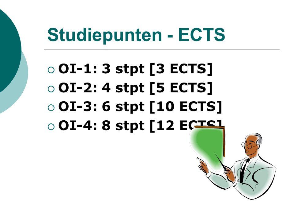 Studiepunten - ECTS  OI-1: 3 stpt [3 ECTS]  OI-2: 4 stpt [5 ECTS]  OI-3: 6 stpt [10 ECTS]  OI-4: 8 stpt [12 ECTS]