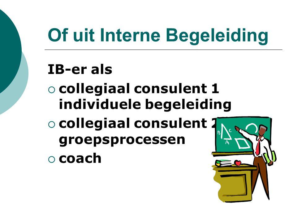 Of uit Interne Begeleiding IB-er als  collegiaal consulent 1 individuele begeleiding  collegiaal consulent 2 groepsprocessen  coach
