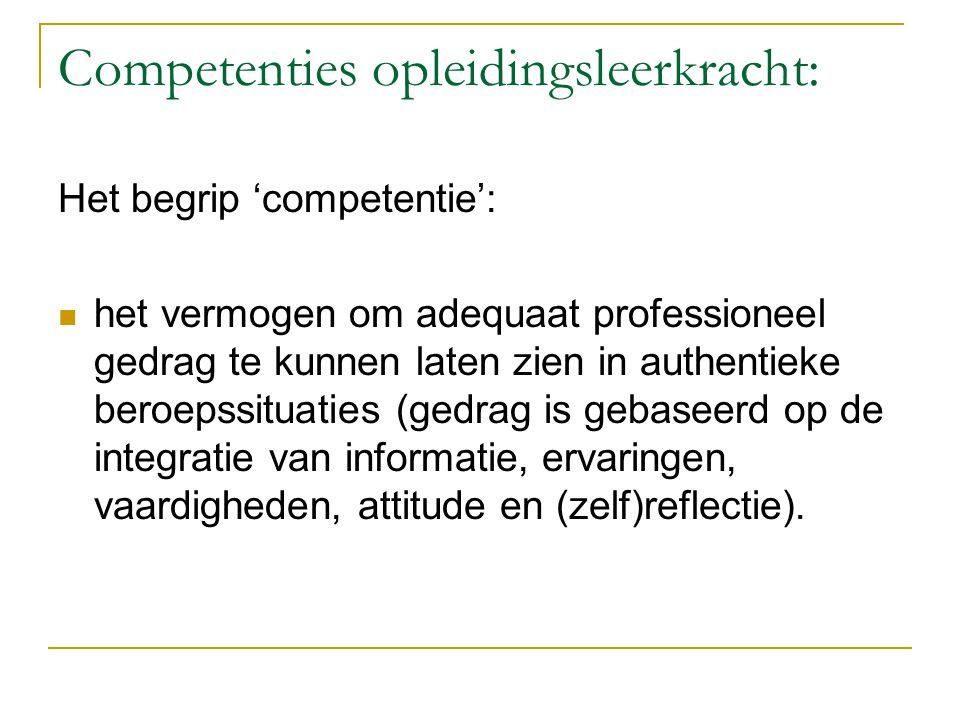 Competenties opleidingsleerkracht: Het begrip 'competentie':  het vermogen om adequaat professioneel gedrag te kunnen laten zien in authentieke beroe