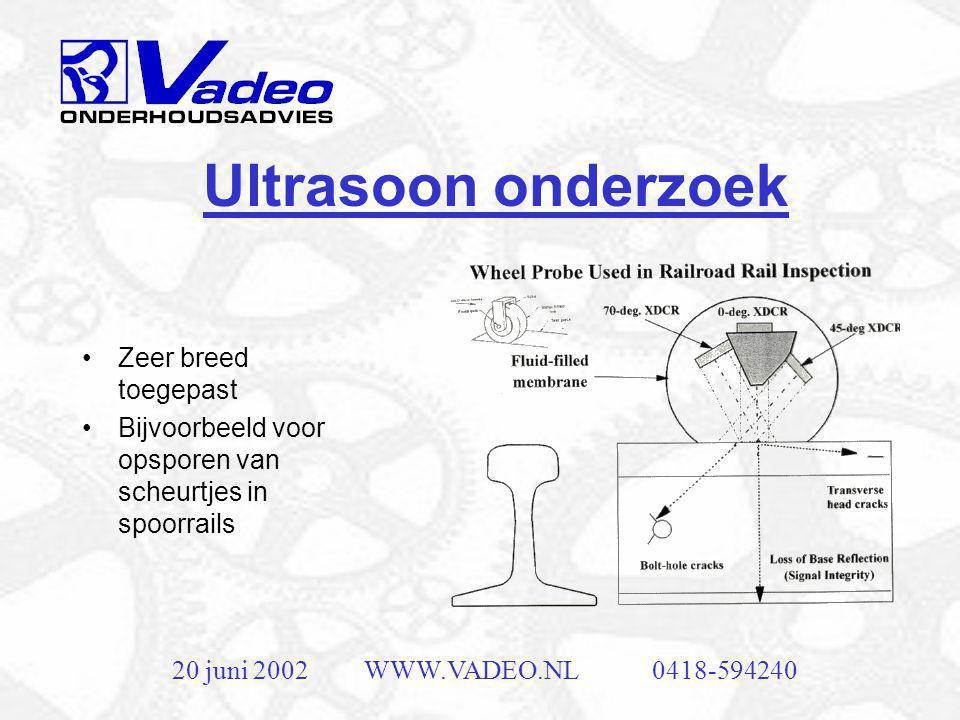 20 juni 2002WWW.VADEO.NL0418-594240 In line olieanalyse •Deeltjes meting •Viscositeit •Zuurgraad •Zowel smeerolie als hydraulische olie