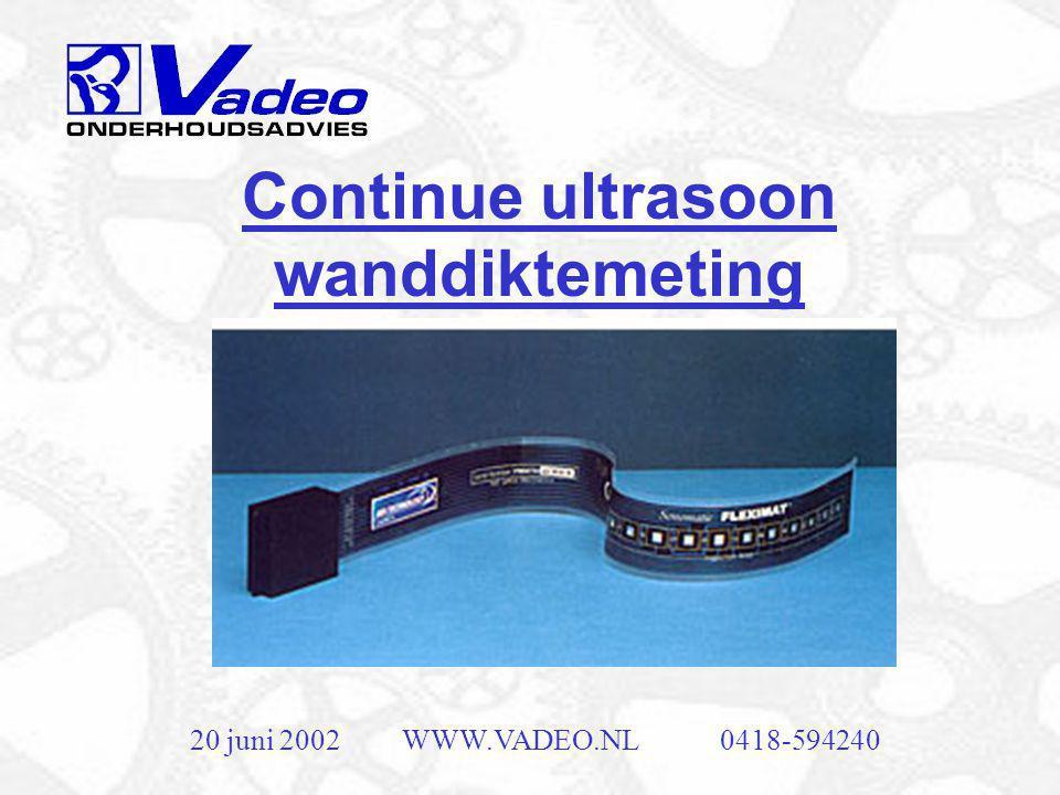 20 juni 2002WWW.VADEO.NL0418-594240 Ultrasoon onderzoek •Zeer breed toegepast •Bijvoorbeeld voor opsporen van scheurtjes in spoorrails