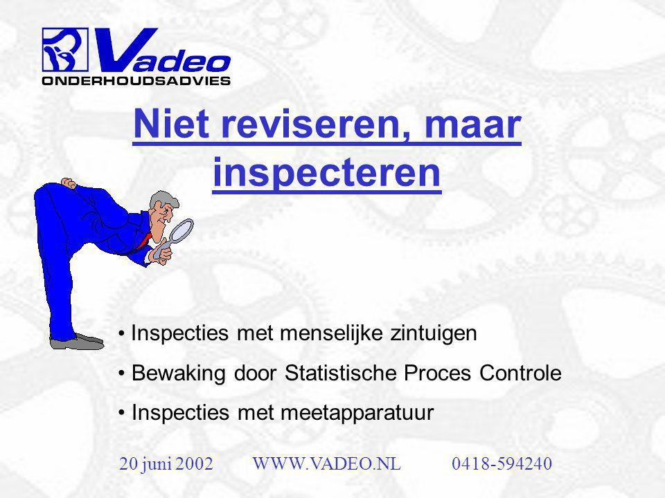 20 juni 2002WWW.VADEO.NL0418-594240 Niet reviseren, maar inspecteren • Inspecties met menselijke zintuigen • Bewaking door Statistische Proces Controle • Inspecties met meetapparatuur
