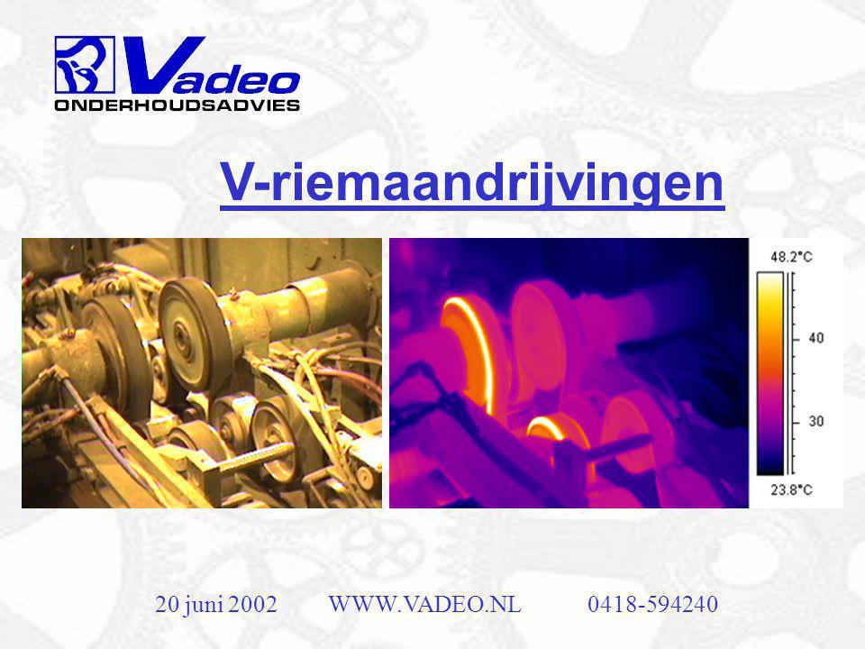 20 juni 2002WWW.VADEO.NL0418-594240 Mechanische thermografie •Conditie van isolatie •Uitlijning koppelingen •V-snaren •Lager schades •Inspectie van warmtewisselaars •Etc.