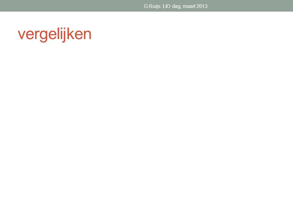 vergelijken G.Ruijs LIO dag, maart 2013