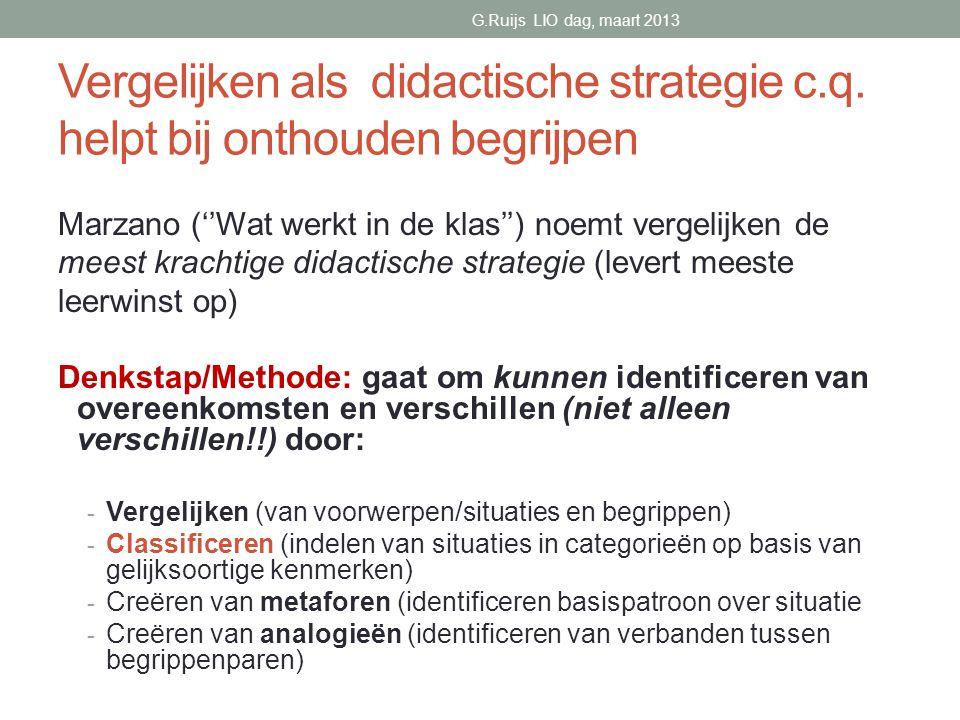 Vergelijken als didactische strategie c.q.