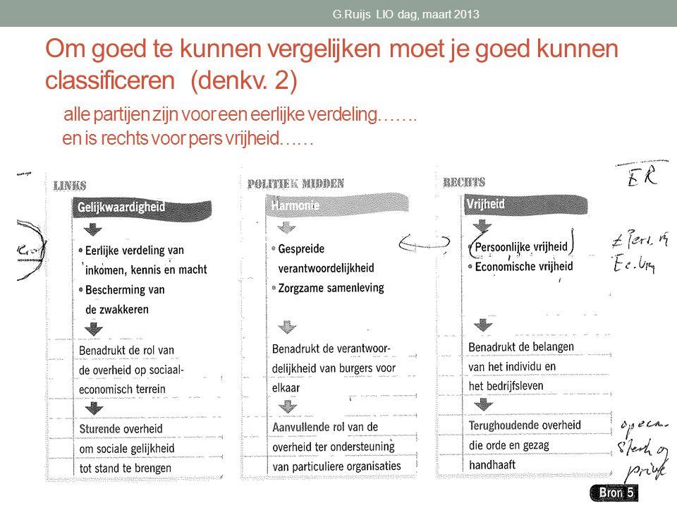 Om goed te kunnen vergelijken moet je goed kunnen classificeren (denkv.