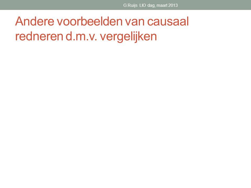 Andere voorbeelden van causaal redneren d.m.v. vergelijken G.Ruijs LIO dag, maart 2013