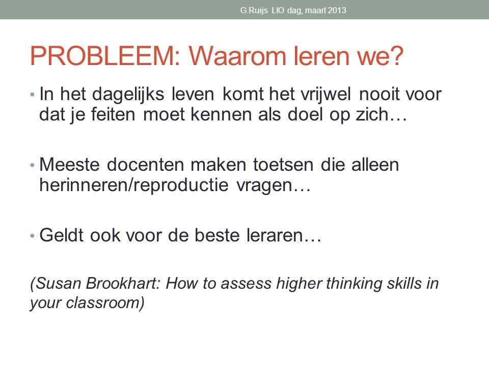 PROBLEEM: Waarom leren we.