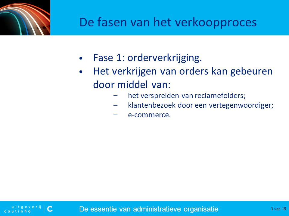 De essentie van administratieve organisatie 4 van 15 De fasen van het verkoopproces • Fase 2: orderontvangst.
