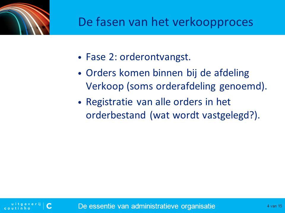 De essentie van administratieve organisatie 5 van 15 De fasen van het verkoopproces • Fase 3: orderbeoordeling.
