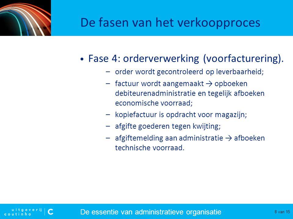 De essentie van administratieve organisatie 9 van 15 De fasen van het verkoopproces • Fase 4: orderverwerking (nafacturering).