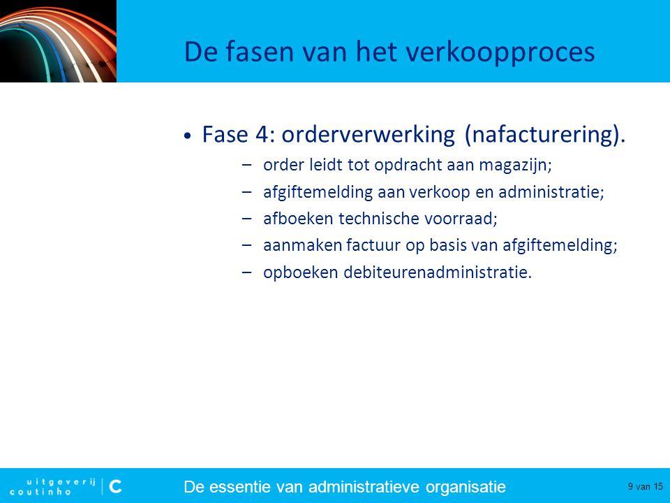 De essentie van administratieve organisatie 10 van 15 De fasen van het verkoopproces • Fase 5: goederenuitlevering.