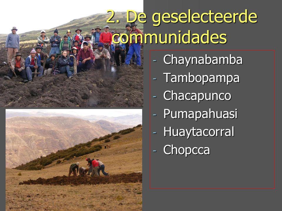 - Chaynabamba - Tambopampa - Chacapunco - Pumapahuasi - Huaytacorral - Chopcca 2.