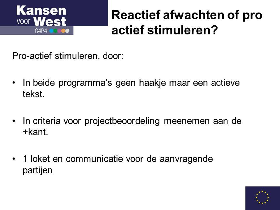 Pro-actief stimuleren, door: •In beide programma's geen haakje maar een actieve tekst.