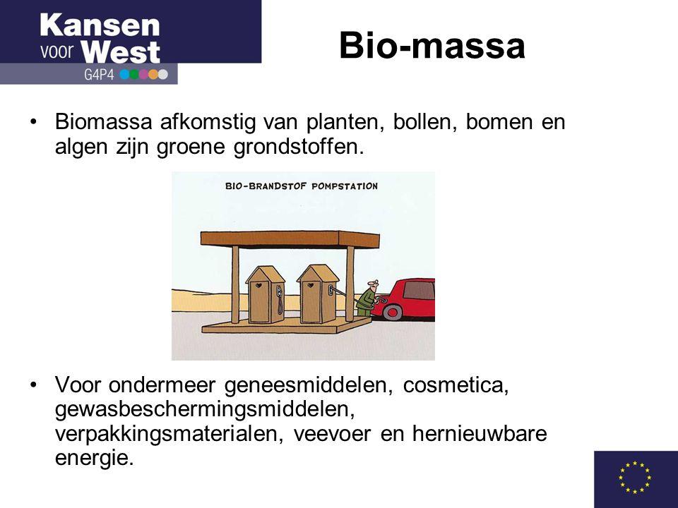 •Biomassa afkomstig van planten, bollen, bomen en algen zijn groene grondstoffen.