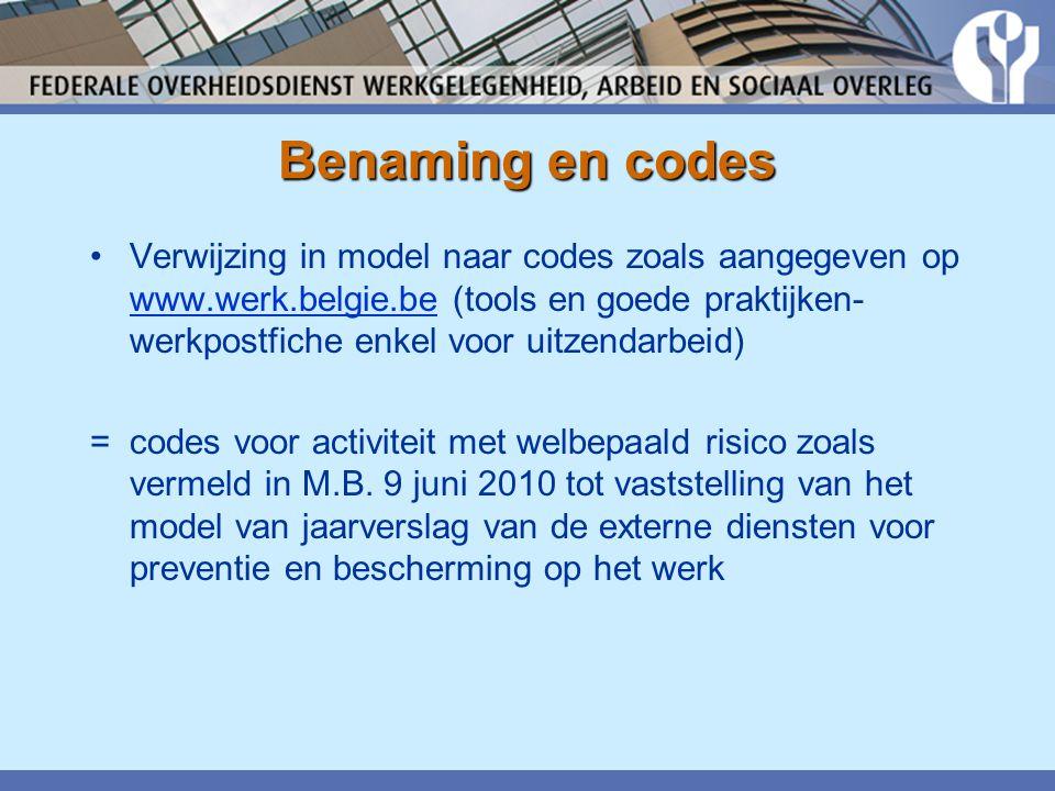 Benaming en codes •Verwijzing in model naar codes zoals aangegeven op www.werk.belgie.be (tools en goede praktijken- werkpostfiche enkel voor uitzendarbeid) www.werk.belgie.be = codes voor activiteit met welbepaald risico zoals vermeld in M.B.