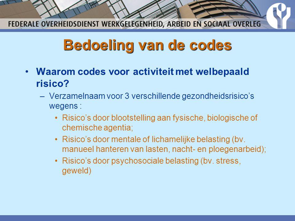 Bedoeling van de codes •Waarom codes voor activiteit met welbepaald risico? –Verzamelnaam voor 3 verschillende gezondheidsrisico's wegens : •Risico's
