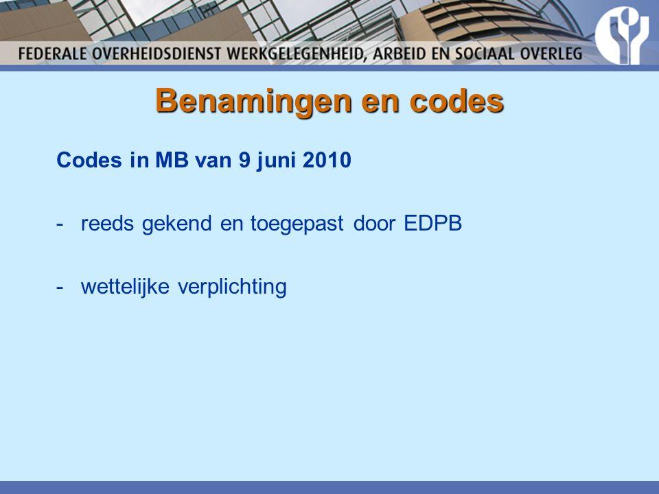 Codes in MB van 9 juni 2010 -reeds gekend en toegepast door EDPB -wettelijke verplichting Benamingen en codes