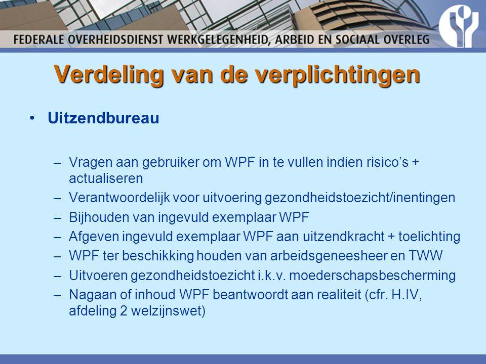 Verdeling van de verplichtingen •Uitzendbureau –Vragen aan gebruiker om WPF in te vullen indien risico's + actualiseren –Verantwoordelijk voor uitvoering gezondheidstoezicht/inentingen –Bijhouden van ingevuld exemplaar WPF –Afgeven ingevuld exemplaar WPF aan uitzendkracht + toelichting –WPF ter beschikking houden van arbeidsgeneesheer en TWW –Uitvoeren gezondheidstoezicht i.k.v.