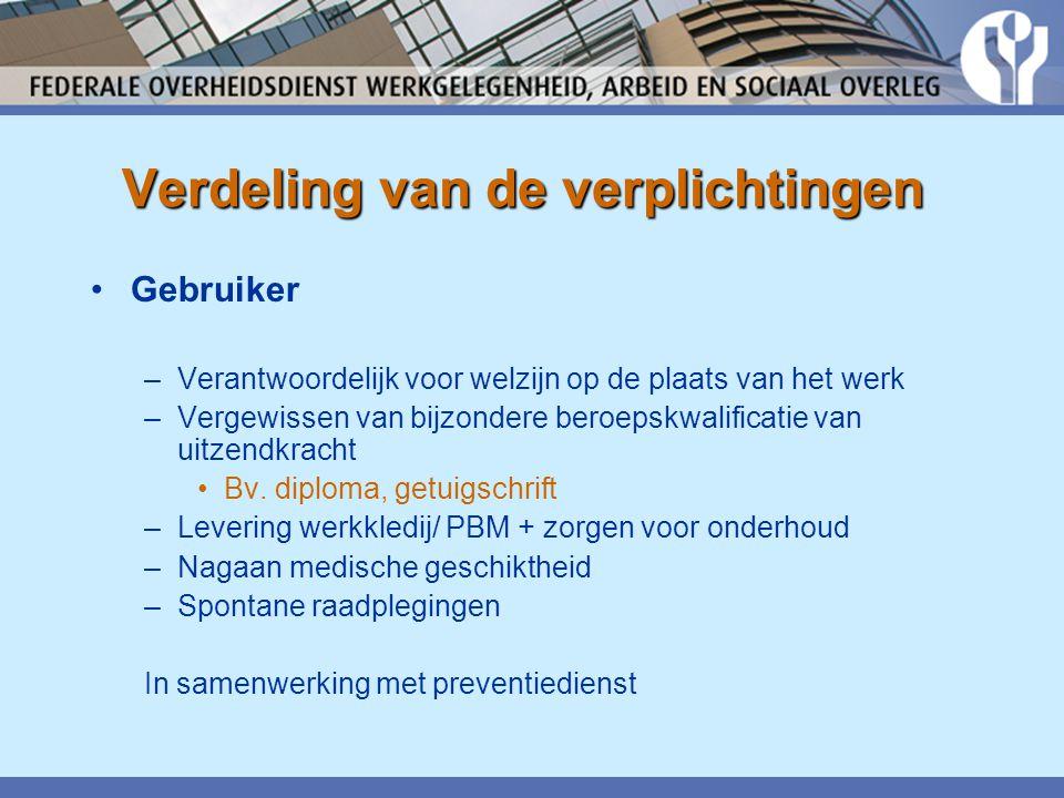 Verdeling van de verplichtingen •Gebruiker –Verantwoordelijk voor welzijn op de plaats van het werk –Vergewissen van bijzondere beroepskwalificatie van uitzendkracht •Bv.