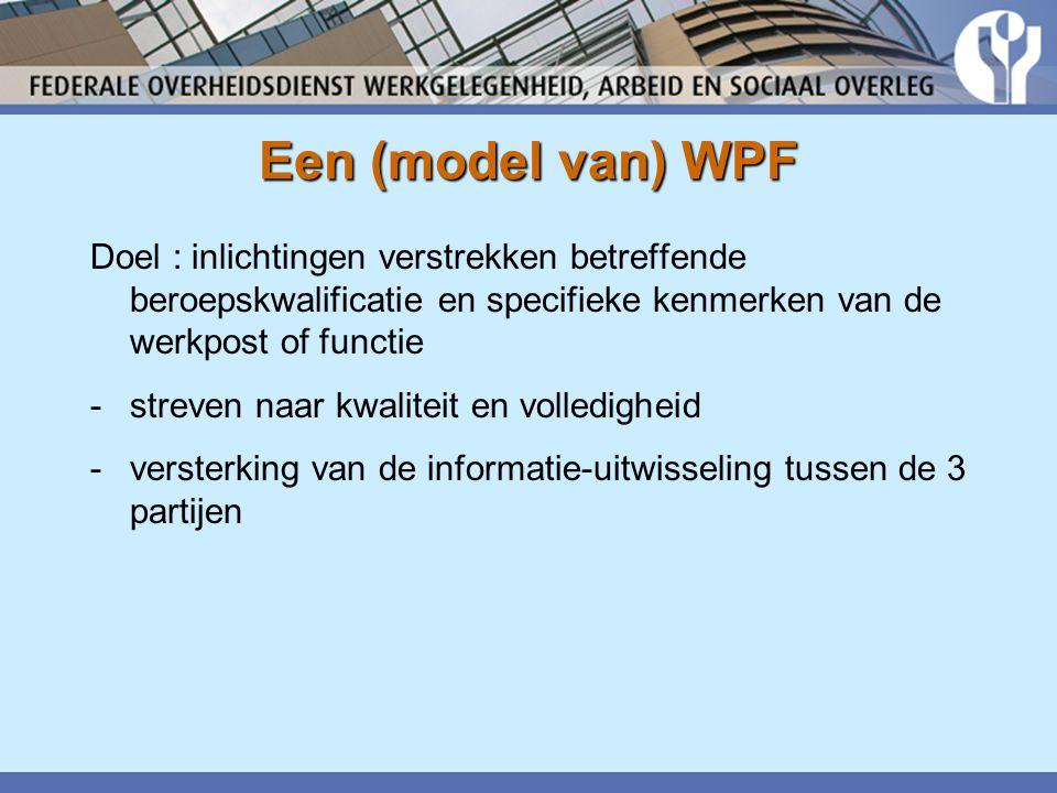 Een (model van) WPF Doel : inlichtingen verstrekken betreffende beroepskwalificatie en specifieke kenmerken van de werkpost of functie -streven naar kwaliteit en volledigheid -versterking van de informatie-uitwisseling tussen de 3 partijen