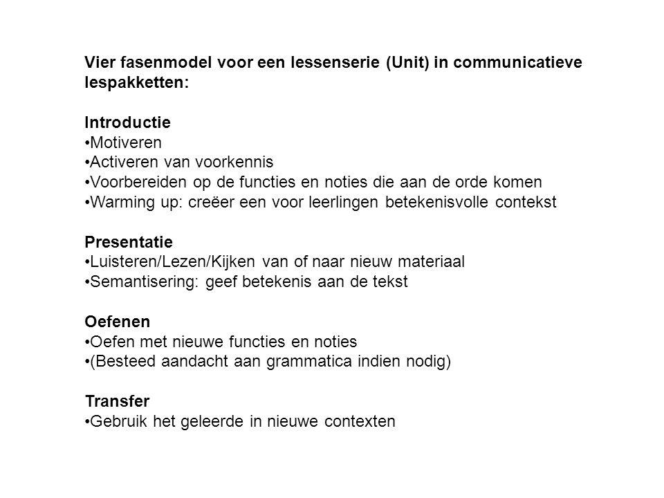 Vier fasenmodel voor een lessenserie (Unit) in communicatieve lespakketten: Introductie •Motiveren •Activeren van voorkennis •Voorbereiden op de funct