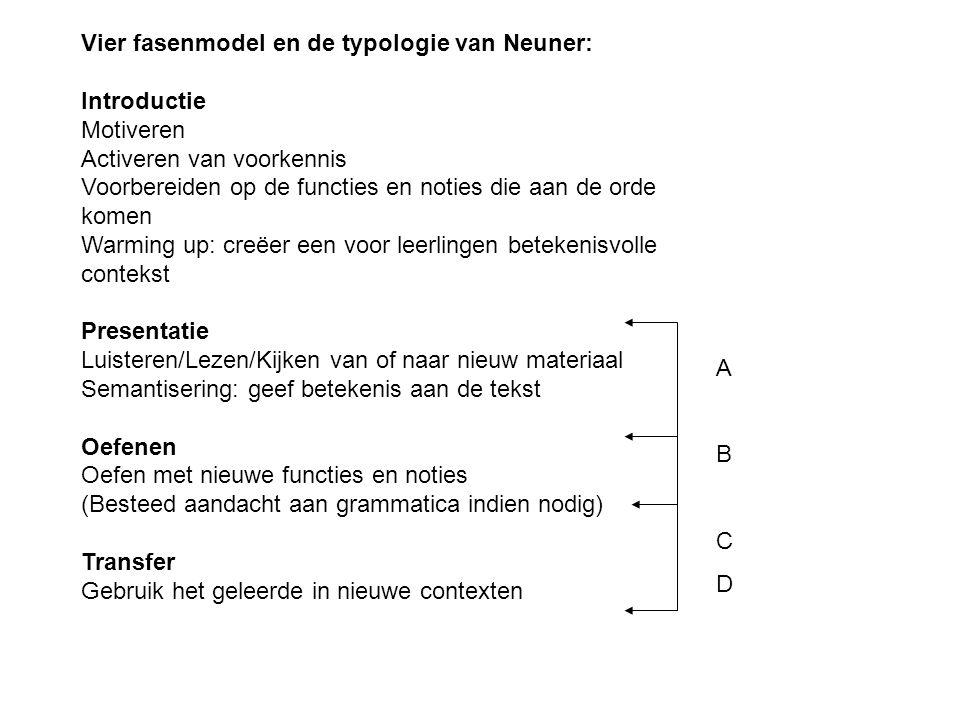 Vier fasenmodel en de typologie van Neuner: Introductie Motiveren Activeren van voorkennis Voorbereiden op de functies en noties die aan de orde komen
