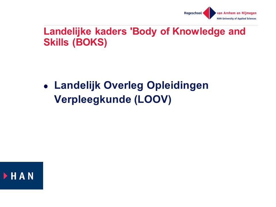 Landelijke kaders Body of Knowledge and Skills (BOKS)  Landelijk Overleg Opleidingen Verpleegkunde (LOOV)