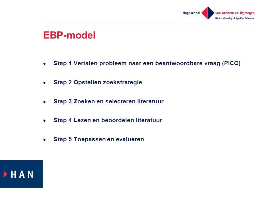 EBP-model  Stap 1 Vertalen probleem naar een beantwoordbare vraag (PICO)  Stap 2 Opstellen zoekstrategie  Stap 3 Zoeken en selecteren literatuur  Stap 4 Lezen en beoordelen literatuur  Stap 5 Toepassen en evalueren