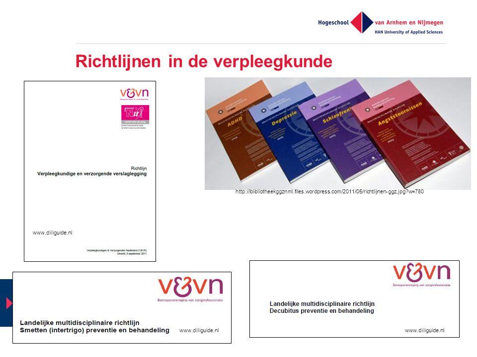 Richtlijnen in de verpleegkunde http://bibliotheekggznml.files.wordpress.com/2011/05/richtlijnen-ggz.jpg?w=780 www.diliguide.nl