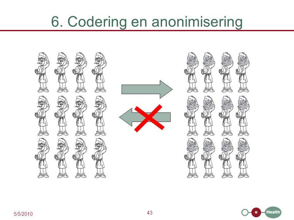 43 5/5/2010 6. Codering en anonimisering