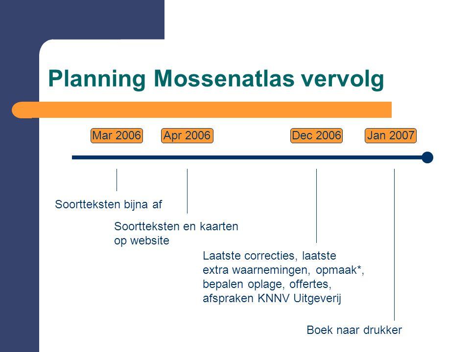 Planning Mossenatlas vervolg Mar 2006Dec 2006Jan 2007 Soortteksten bijna af Laatste correcties, laatste extra waarnemingen, opmaak*, bepalen oplage, o