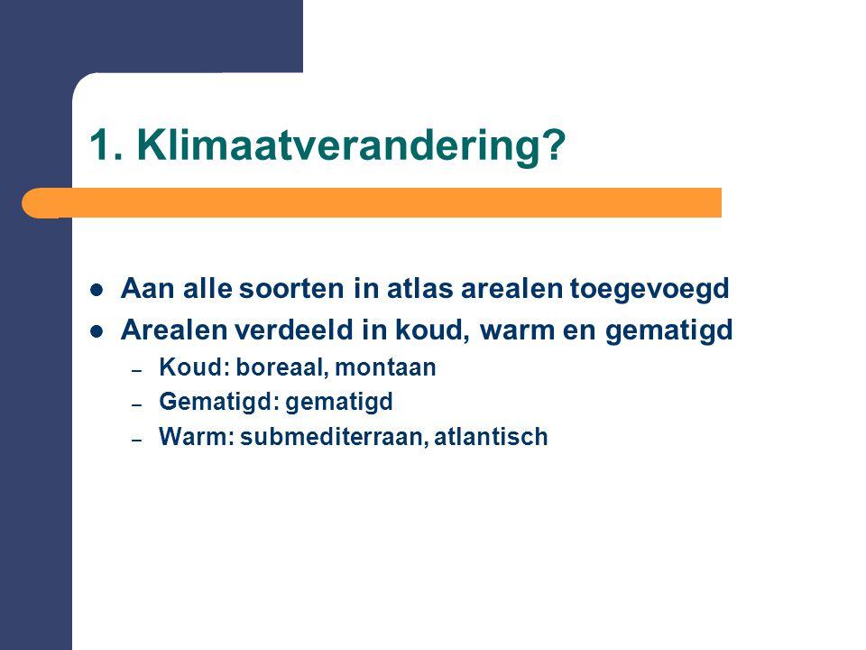 1. Klimaatverandering?  Aan alle soorten in atlas arealen toegevoegd  Arealen verdeeld in koud, warm en gematigd – Koud: boreaal, montaan – Gematigd