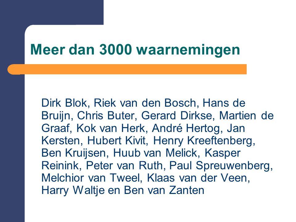 Meer dan 3000 waarnemingen Dirk Blok, Riek van den Bosch, Hans de Bruijn, Chris Buter, Gerard Dirkse, Martien de Graaf, Kok van Herk, André Hertog, Ja