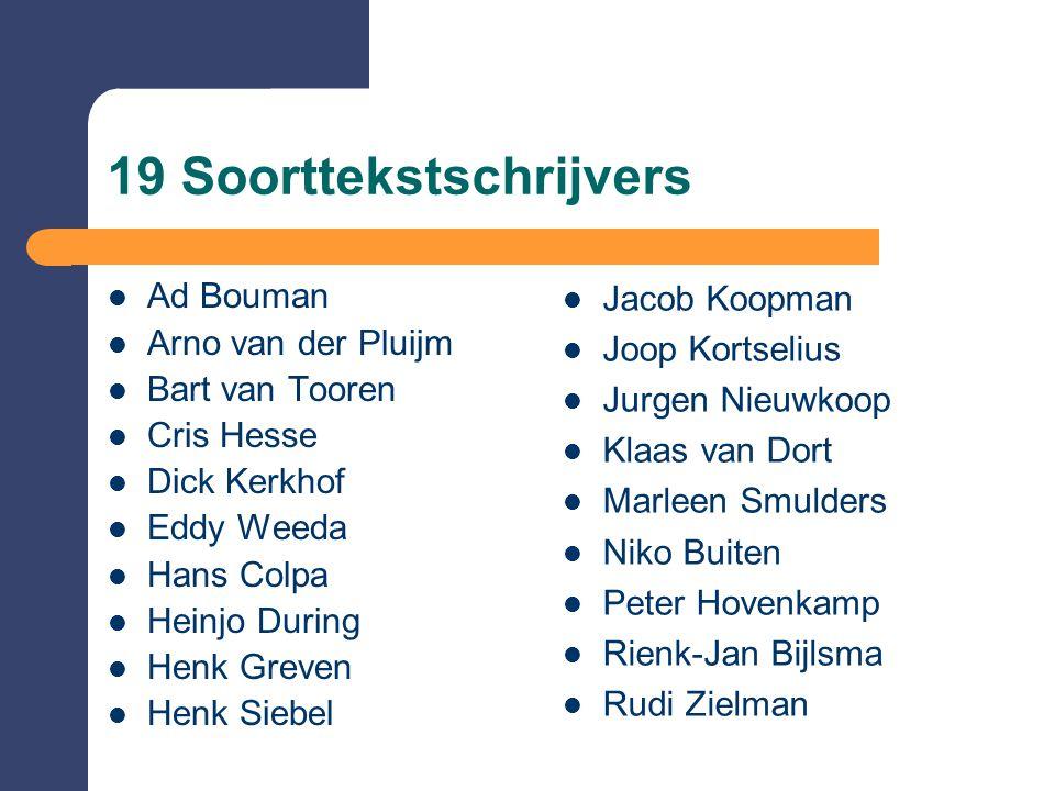 19 Soorttekstschrijvers  Ad Bouman  Arno van der Pluijm  Bart van Tooren  Cris Hesse  Dick Kerkhof  Eddy Weeda  Hans Colpa  Heinjo During  He